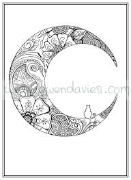 Small Picture Adult colouring in PDF download moon cat calming mindfulness