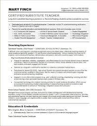 Substitute Teacher Duties Resume Resume Template