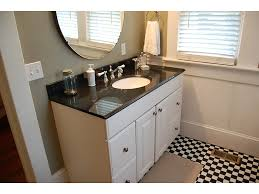 white bathroom cabinets with dark countertops. Dark Countertop White Bathroom Cabinets Under Frameless Mirror And Small Window In Black Floor With Countertops I