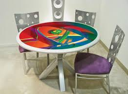 painted table ideasColorful dining room table ideas with red painted table and white