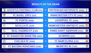 fixtures after the draw for the round of 16 of the uefa champions league afp