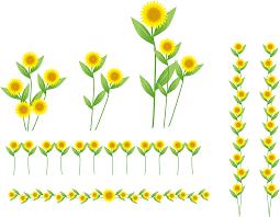 フリーイラスト ひまわりの花と飾り罫線のセットでアハ体験 Gahag