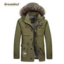 groundnut natural rac fur collar men s winter parkas men thick fleece lining warm cotton coat outerwear with detachable hood