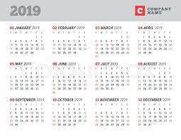 12 Week Calendar Template Calendar Template For 2019 Year Stock Vector Colourbox