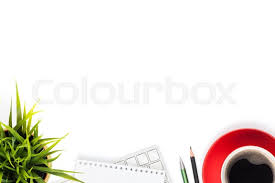 Top office table cup Pen Office Desk Table With Computer Supplies Coffee Cup And Flower Isolated On White Background Top View With Copy Space Stock Photo Colourbox Office Desk Table With Computer Stock Photo Colourbox