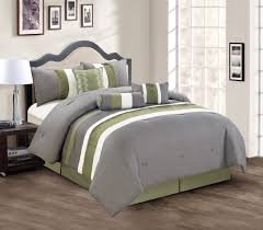 image of gray and green comforter
