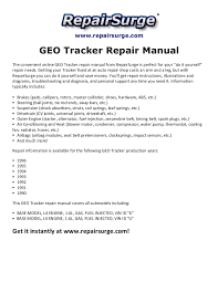 geo tracker repair manual 1990 1996