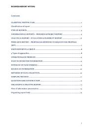 Report Business Business Report Writing Notes