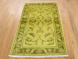 3 x5 yellow peshawar overdyed hand knotted pure wool oriental rug sh38895