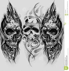 эскиз искусства татуировки черепов иллюстрация штока иллюстрации
