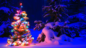 snowy christmas tree wallpaper. Perfect Wallpaper Snowy Christmas Tree Lights Wallpapers To Wallpaper T