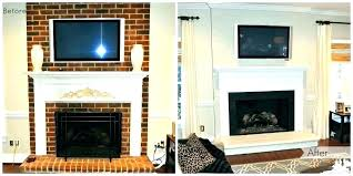 painted fireplace before and after painting red brick fireplace paint brick fireplace painting red brick fireplace