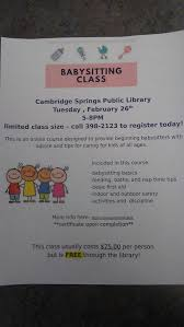 Free Online Babysitting Certification Free Babysitting Class At Cambridge Springs Public