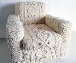 Armchair Cover That Looks Like a Cable Knit Sweater