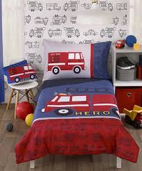 white firetruck toddler bedding set