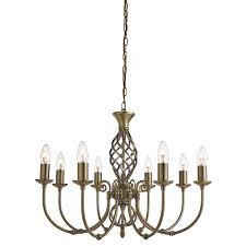 ornate lighting. Searchlight 8398-8 Zanzibar Antique Brass 8 Light Fitting Ornate Twisted Column -Sunset Lighting