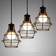 loft industrial iron cage. Loft Iron Cage Pendant Lights With E27 Bulb Vintage Lamp Industrial Hanging Black/White Lustres De Sala Luminarias Home Yellow P