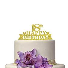 Amazoncom Happy 18th Birthday Cake Topper Shiny Gold 18th