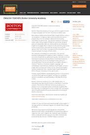 Cover Letter Boston University English Teacher Boston University Academy Job At Boston University