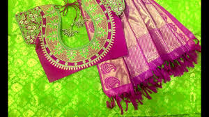 Green Saree With Pink Blouse Design Latest Stone Work Blouse For Pure Silk Saree Saree Blouse