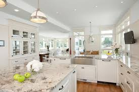 image of antique white kitchen cabinets with granite countertops