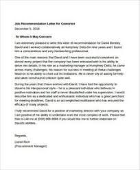 Reference Letter Job Letter Of Recommendation For Coworker Business Template
