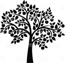 apple tree clipart black and white. apple tree vector art illustration clipart black and white e