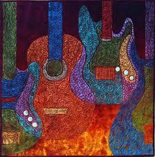 Quilt it – then Paint it! - Cedar Canyon Textiles & Guitar Quilt by Sue Kelly Adamdwight.com