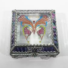 Stained Glass Jewelry Box Designs Amazon Com Victorian Butterfly Stained Glass Jewelry Box