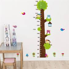 Owl Monkey Butterfly Flower Tree Growth Chart Wall Art Home Decorations Animal Stickers Cartoon Children Wall Decals Wallpaper In Wall Stickers From