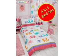 patchwork elephant 4 in 1 uk junior us toddler bedding bundle duvet pillow