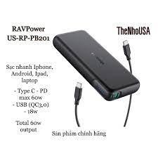 Sạc dự phòng RAVPower 20000mAh 60w PD3.0 (RP-CPBN004)
