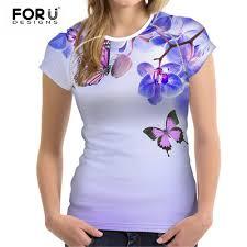 <b>FORUDESIGNS</b> Flower <b>T shirt Women</b> Butterfly Flowers Basic Tee ...