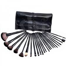 professional 24 piece mac makeup brush set with leather pouch mbs
