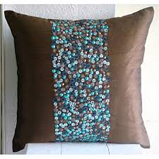 Turquoise And Brown Decorative Pillows