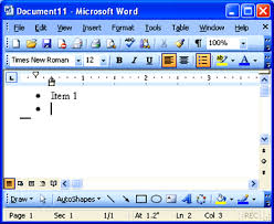 micresoft word office space creating a bulleted list in microsoft word