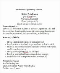 Resume Format For Experienced Production Engineers Example
