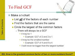 Greatest Common Factor Table Chart Greatest Common Factor Least Common Multiple Prime