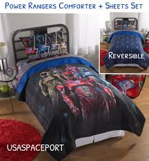 6 pc power rangers full double comforter sham sheets set bed in a bag room