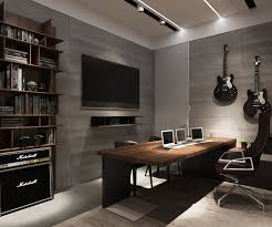 home office decor brown. Office : Masculine Cozy Home Decoration With Gray Wall Paneling Also Open Wooden Shelves Plus High Back Chair Feat Brown Table Tips On Decor I