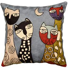 picasso blue cat pillow cover quadruplets ii hand embroidered wool