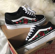 vans shoes with roses. shoes vans black rose flowers embroidered with roses i