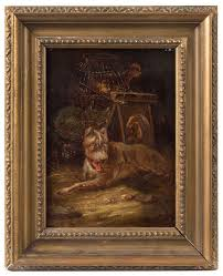 antique dog and wheel barrow painting oil on gany panel 1878 entire view