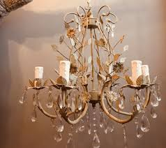 large ceiling light chandelier shabby chic style metal flowers with crystal droplets