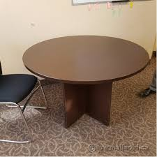 espresso round 48 meeting lunchroom table w cross base