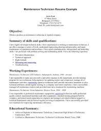 Sample Resume For Maintenance Format Resumes Technician Cv Avi