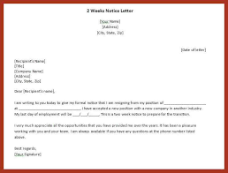 written two weeks notice 2 week written notice job proposal example