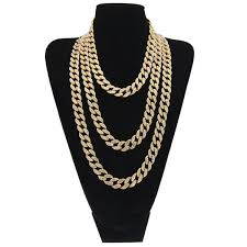 iced out chain mens hip hop necklace jewelry full rhinestone crystal gold miami cuban link chains for men