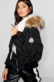 boohoo contrast hood faux fur trim puffer jacket black dzz22928 iumffxq