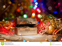 Treasure Chest Decorations Treasure Chest With Christmas Decorations Stock Photo Image